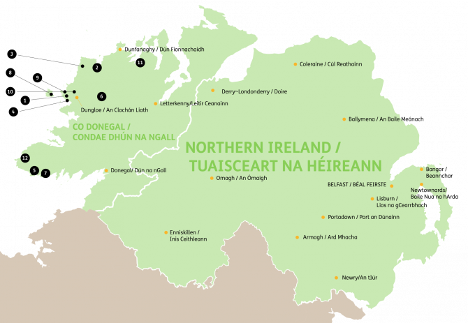 Map of Gaeltacht Colleges